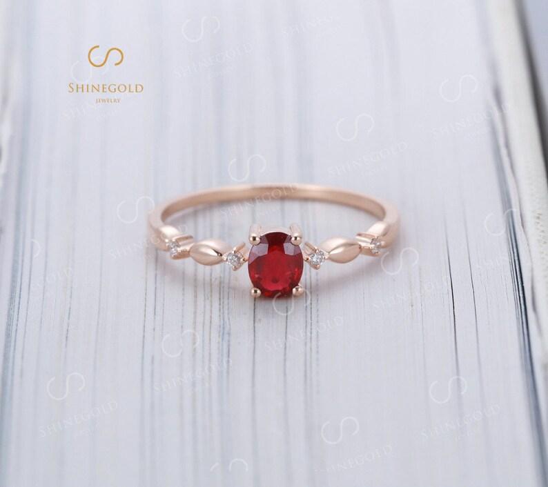 Ruby Engagement Ring 14k Rose Gold Diamond Wedding Oval Cut Etsy