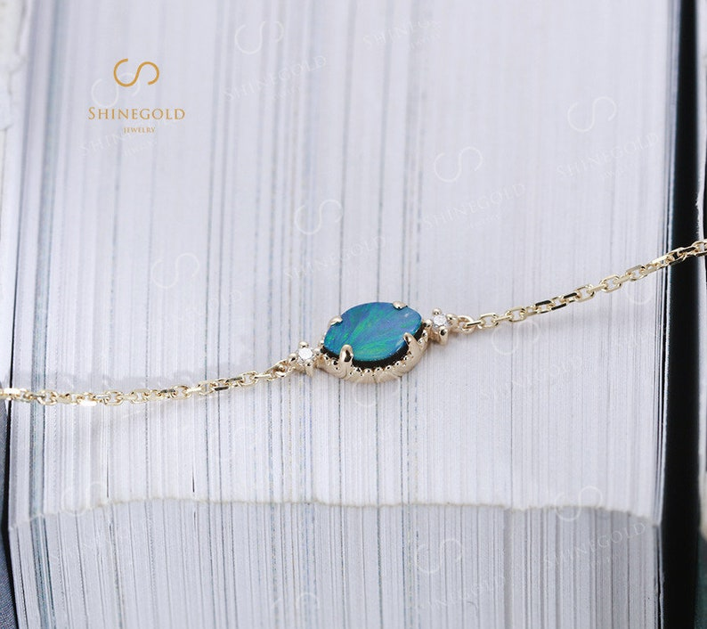 Yellow gold Bracelets Oval cut Opal with pearl bracelets Delicate wear simple Wedding Bridal set Anniversary Birthday Gift for women