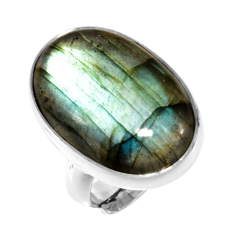 Excellent Quality Natural Labradorite Gemstone Engagement Ring For Father Gemstone Handmade Ethnic 925 Sterling Silver Ring Size Adjustable