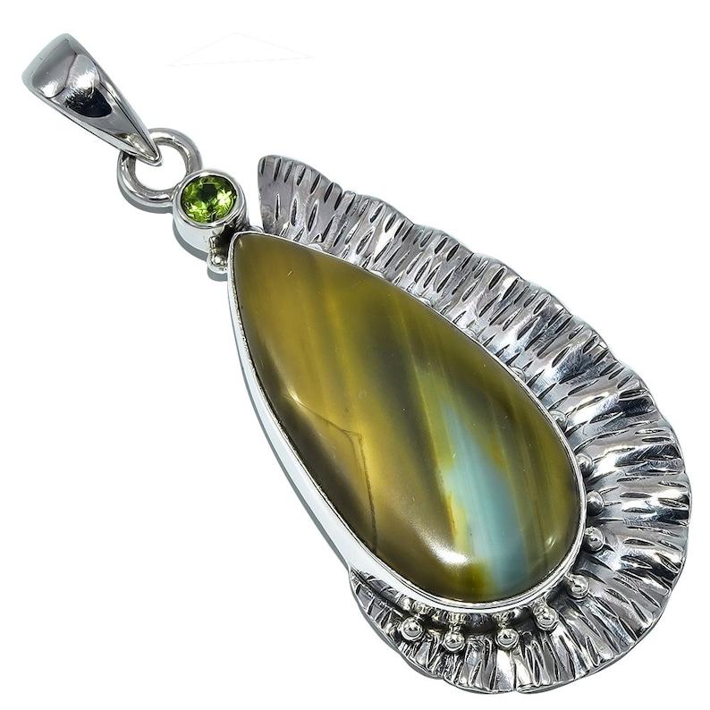 Antique Natural Imperial Jasper Gemstone Pendant Silver Jewelry Engagement Gift Gemstone Handmade Ethnic 925 Sterling Silver Pendant 6 CM