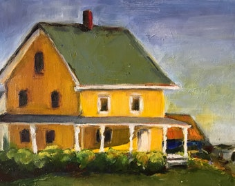 Oil painting of farmhouse.