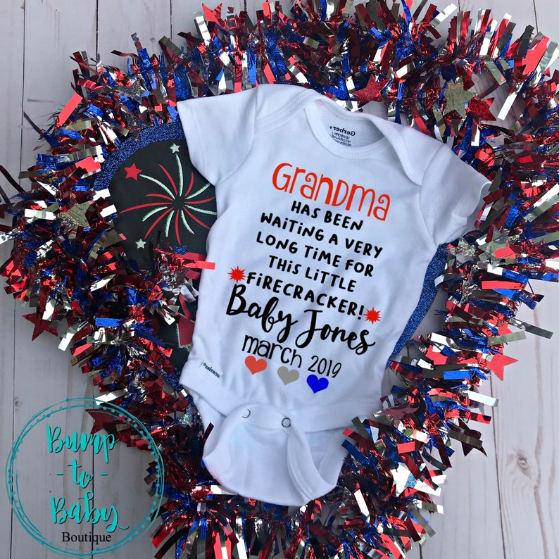 c11678a27df76 Grandma 4th of July Pregnancy announcement onesie to Grandma   Etsy