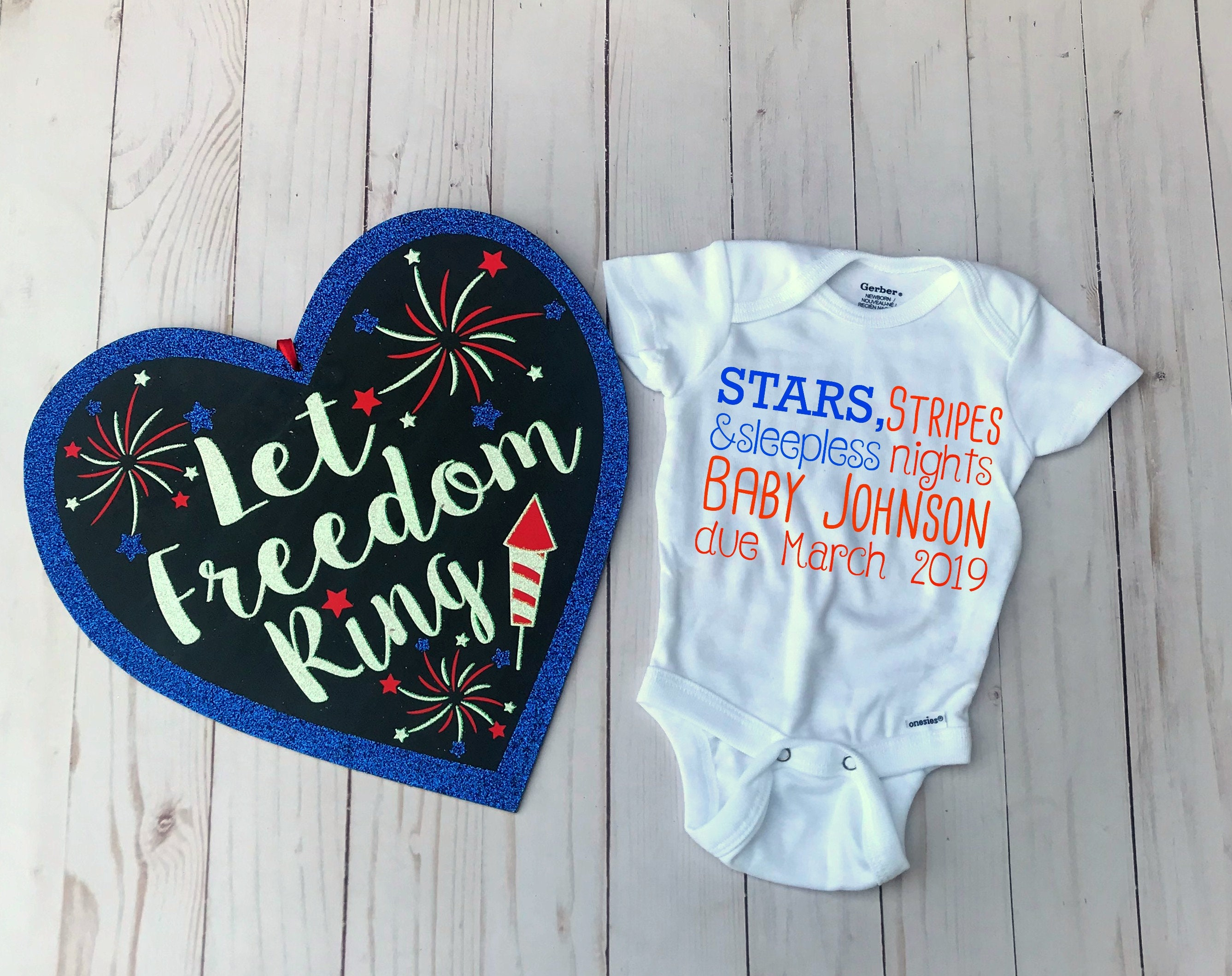 606129731 Personalized Baby 4th of July Pregnancy Announcement Onesie | Etsy