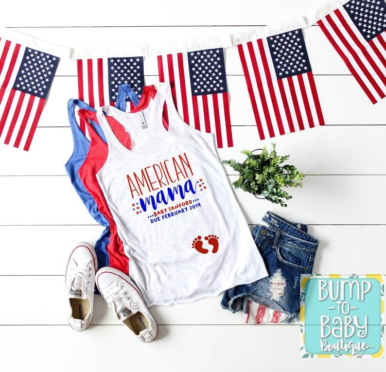 de7a0a9a55b98 July 4th Pregnancy Announcement Shirt American Mama   Etsy