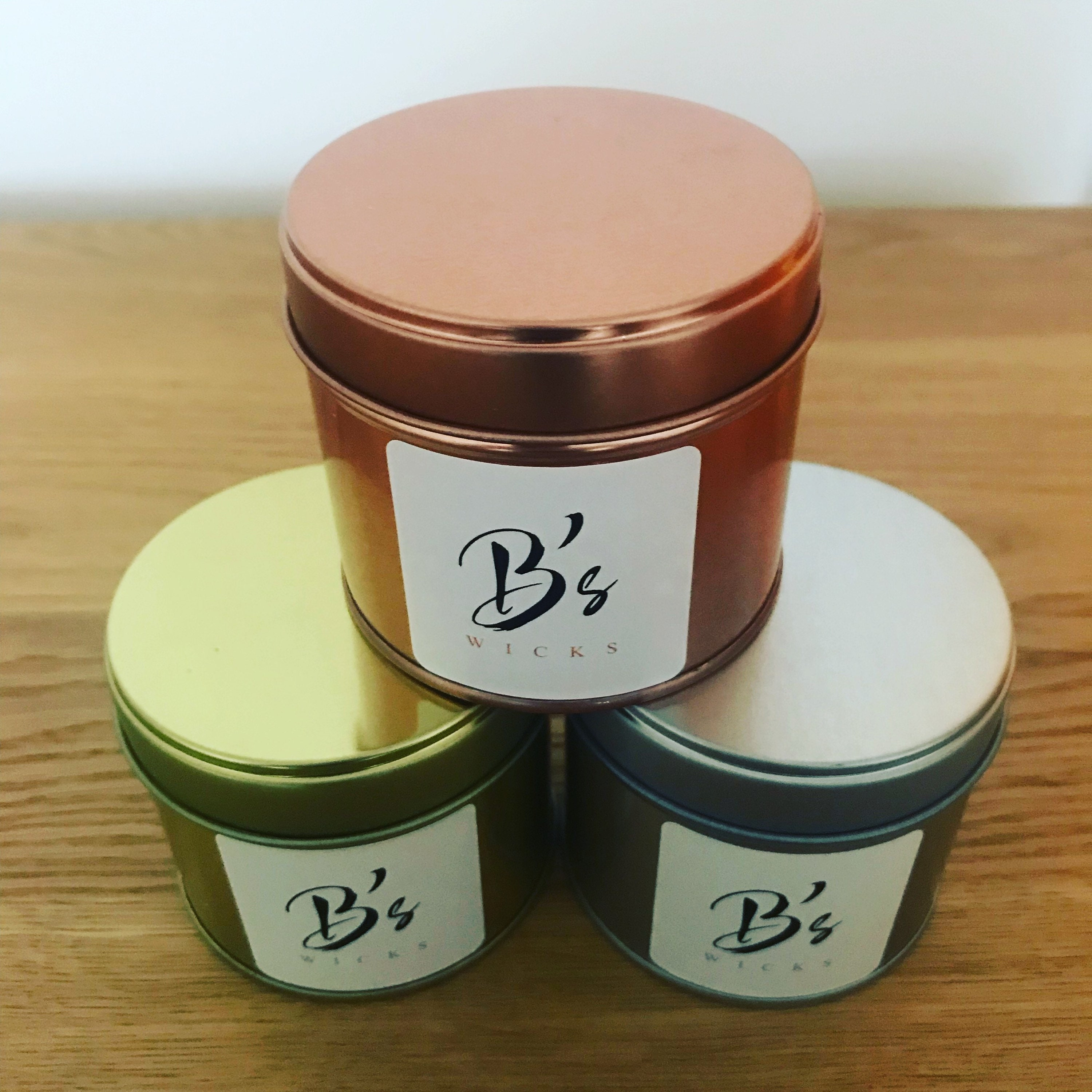Homemade, Scented, Soy Candles with a choice of Copper, Gold