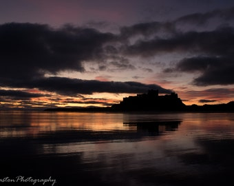 Sunrise at Bamburgh Castle in Northumberland Photographic Print 12 x 8inch or 16 x 12inch