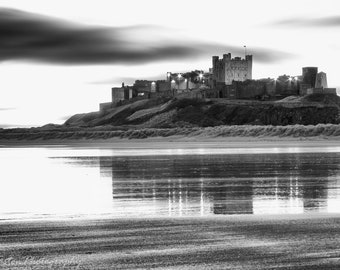 Bamburgh Castle Black and White Photographic Print 12x8 / 16x12
