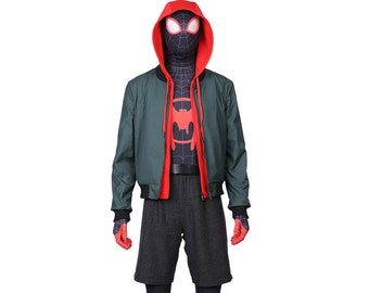 Spiderman Into the Spider Verse Jacket Hoodie Bodysuit Full Set Black Cosplay  Costume Deluxe Top Quality Halloween Outfit Customize-able 4478b339e18d