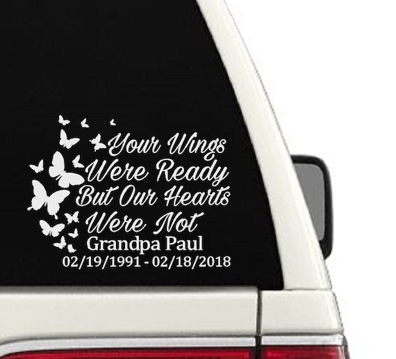 In Loving Memory Car Decals >> In Loving Memory Car Decal Window Memorial Sticker Decal Personalized Name Butterflys