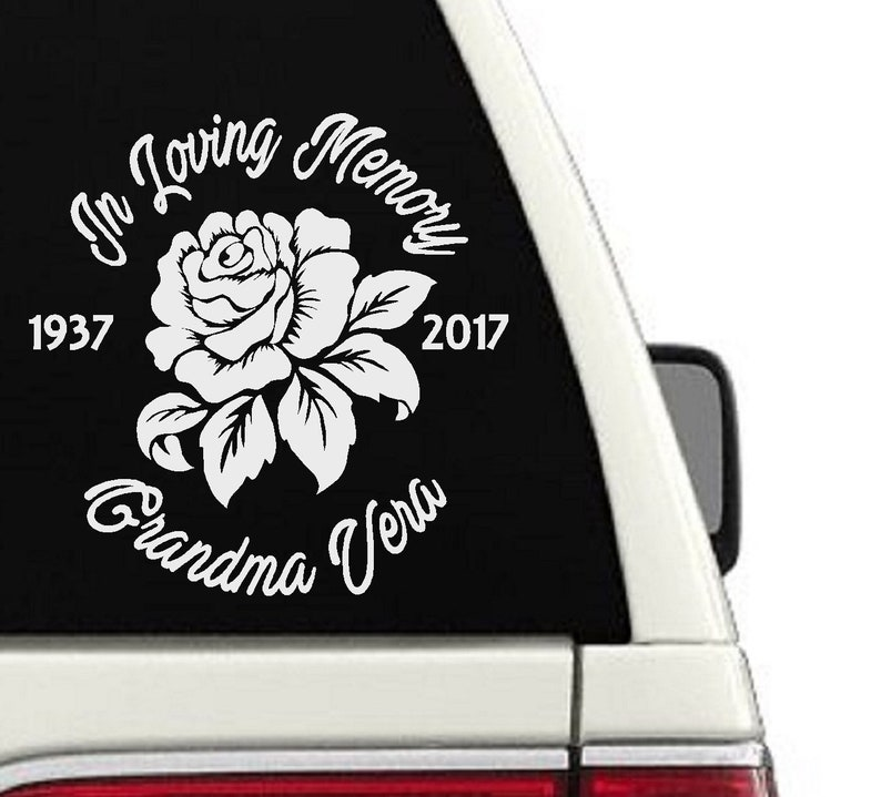 In Loving Memory Car Decals >> In Loving Memory Rose Car Decal Window Memorial Sticker Decal Personalized Name