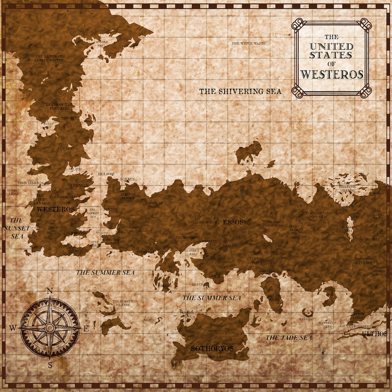 photograph regarding Free Printable Map of Westeros identified as Westeros Essos Map Artwork Print. Wall Artwork. Poster Print, 3 Measurements. Received Supporter Artwork. 7 Kingdoms Myth Map Print.