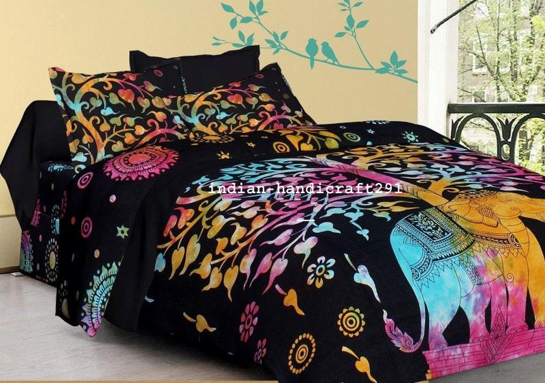 Elephant Indian Mandala Bedding Set Throw Sheet Hippie Bohemian Throw Bed Cover