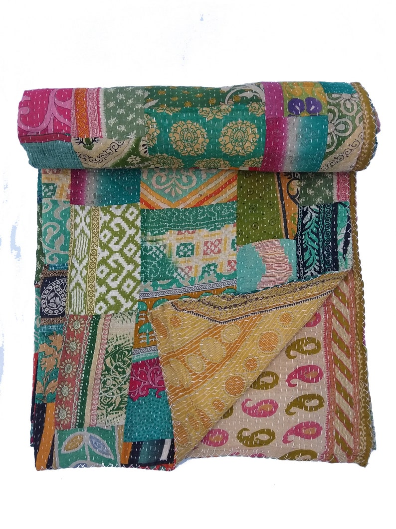Vintage Quilt Indian Reversible Kantha Quilt Blanket Coverlet Throw Twin Size