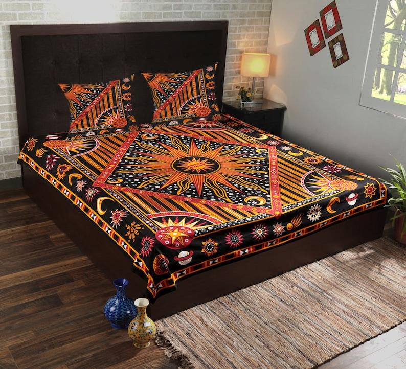 Indian Sun /& Moon Mandala Cotton Bedding Set Queen Quilt Bed Sheet Coverlets Set