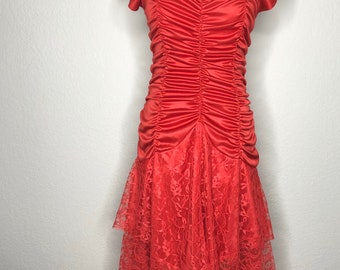 Vintage women's 80s formal red lace dress
