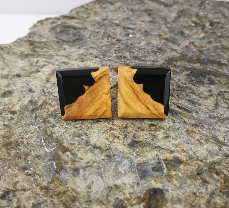 Wood Resin Jewelry for Men Wooden Cuff Links Resin Wood Cufflinks