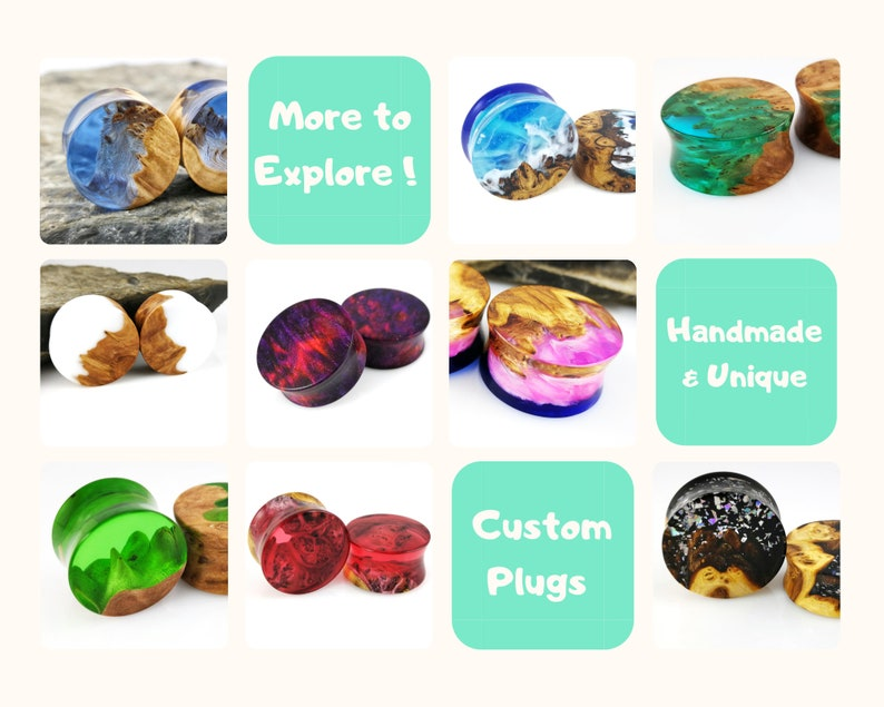 Wood and Glitter Resin Ear Gauges 28mm Ear Plugs 1 18 inch Plugs and Tunnels