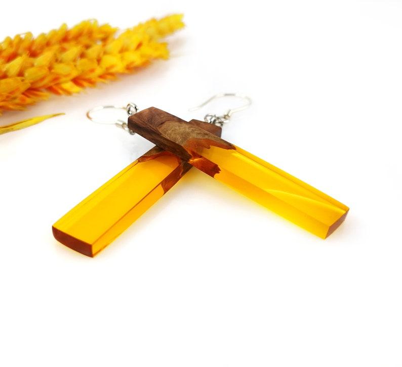 Secret Santa Gift for Women Resin and Wood Earrings Handmade Wooden Earrings Orange Resin Dangle Bar Earrings