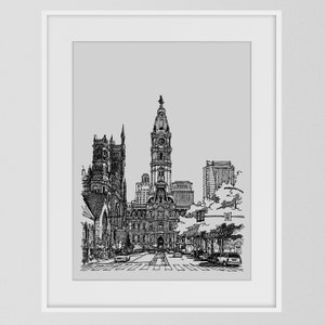 High quality art print of original pencil and marker illustration Philadelphia\u2019s city hall gallery wall art Philly architecture unique