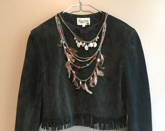 True Vintage Fringe Leather Jacket Cropped Boxy Green Fringed Suede Cowgirl 6 M