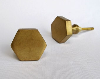 Brass Hexagon Knob   Drawer Pulls, Drawer Knobs, Cabinet Knobs And Pulls,  Dresser Knob, Unique, Decorative, Brass Gold Brushed Finish Modern