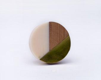 Fusion Drawer Knob Golden Brass Wood and Cream Resin Dresser Knob Pull Cupboard Handle