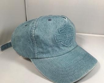 Harley Davidson vintage denim light wash hat embroidered 3d emblem  adjustable strapback baseball cap blue jeans dad hat d4cc3ca3c557