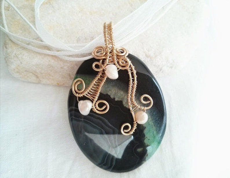 Bohemian Gray And Green Dragon Veins Agate Necklace,Gold Filled Wire Wrapped Mineral Necklace,Handmade Wire Jewelry,Gemstone Drop Necklace