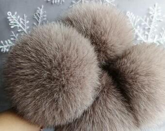 7Beige Fox Fur Pom Poms Pompom Fox Fur Pom Pom for Beanies Large Fur Pompom Real Fur Pom Pom Beige Fox Pompom for Hat Christmas Fur Gifts