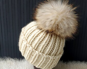 310e695f02b Chunky Pompom Beanie Knitted Hat Milk White Beanie Cable Knit Hat Bulky  Winter Slouchy Beanie Real Fur Pompom Hats Holiday Gift for Women