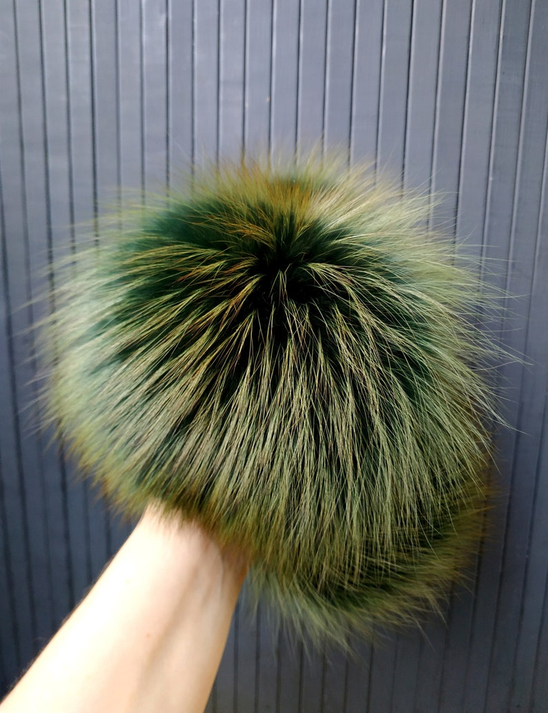 7 Gold Green Fox Fur Pom Pom Green Pompom Fox Fur Pom Pom Large Fur Fox Pompoms Real Fur Pom Pom Fox Fur Pompom for hats beanies Gifts