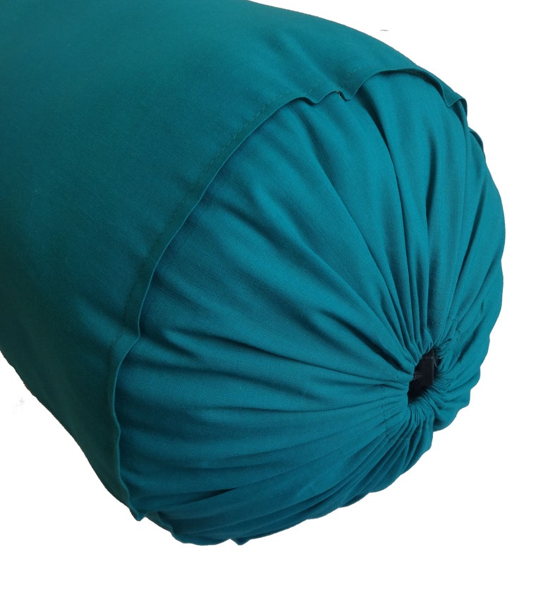 "Bolste Cover Cotton Long Yoga Massage Neck Round Pillow Cover 7/"" Diameter Blue"