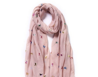 WOMENS BABY PINK UNICORN HORSE PRINTED LONG FAHSION SCARF,SHAWL,SHOULDER WRAP