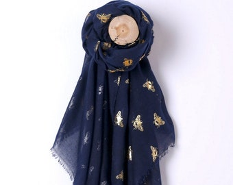 Glitter Scarf Silver Bee Lover Print Wrap Shiny Foil Summer Honeybees Scarves