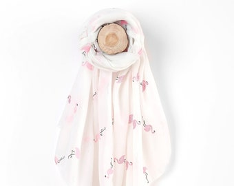 Sheer White Lightweight Scarf With Glittering Pink Flamingo Print