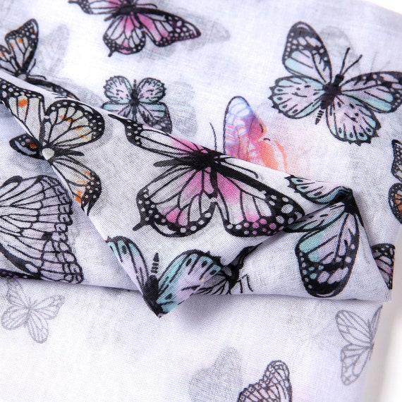 Butterfly Print Scarf Pretty Pink Quirky Ladies Scarf UK Seller Butterflies