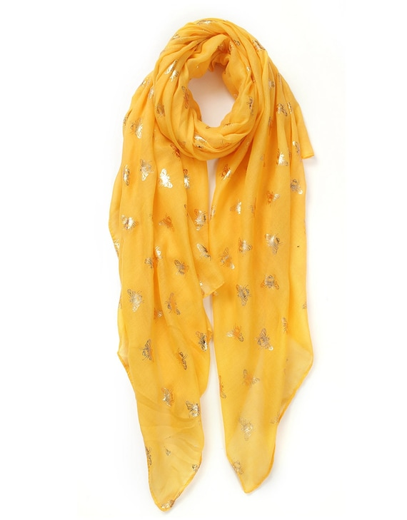 PINK BEE PRINT SCARF BUMBLE BEE FOIL PRINT  WITH SILVER METALLIC PRINT
