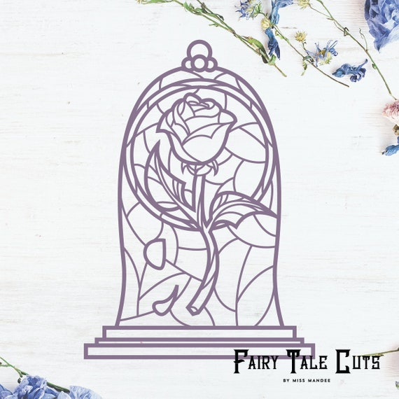 Beauty And The Beast Inspired Rose Stain Glass Cut File Design Etsy