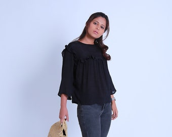 Black Ruffle Top