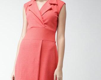 Pink Sleeveless Trench Dress