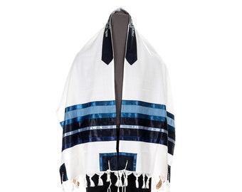 Blue & White Wool Tallit, Tallit Bar Mitzvah, Wedding Tallit, Tallit for Man ,Tallit Wool, Tzitzit, Bar Mitzvah Tallit, Talit from Israel