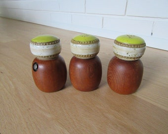 Vintage mid 1980s stoneware salt and pepper shakers Denby Greenwich pattern large Original plugs to base.