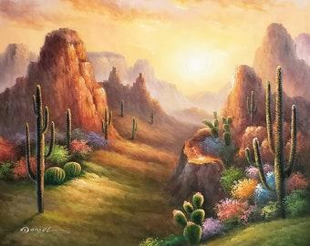 Desert Sunset, Itm#DE0k20-3,  36x48, 100% Hand Painted Oil Painting on Canvas