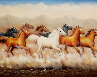 d4b8c35db Wild Horses Running #2, 24x36 - 100% Hand Painted Oil Painting on Canvas