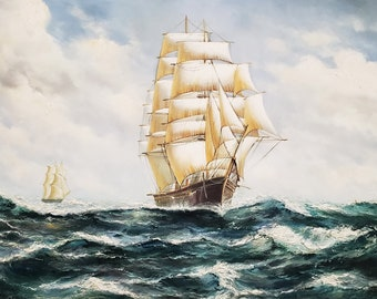 LMOP113 100/% hand-painted sailing ship seascape OIL PAINTING CANVAS decor ART