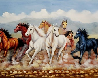 711da028a Wild Horses Running #1 - 24x36 - 100% Hand Painted Oil Painting on Canvas