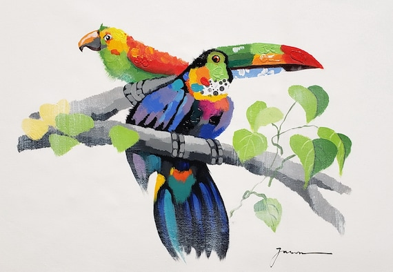 Acrylic /& Oil mixed Painting on Giclee Canvas 24x36 Toucan and Parrot