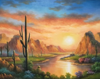 Desert Sunset, Itm#DE0k20-4,  36x48, 100% Hand Painted Oil Painting on Canvas