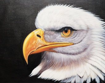 American Bald Eagle - 24x36  - 100% Hand Painted, Oil Painting on Canvas