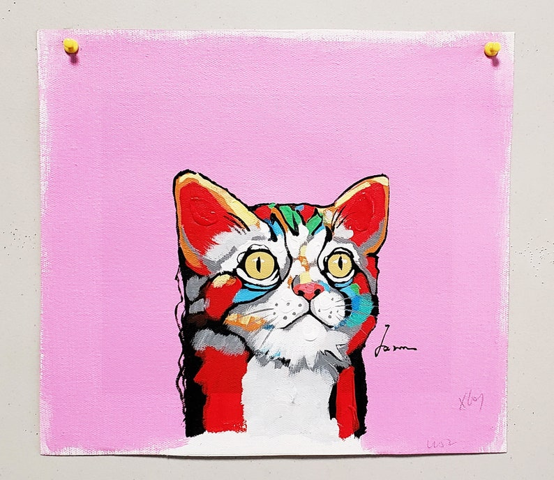 Red Cat 8x10 Acrylic /& Oil mixed Painting on Giclee Canvas